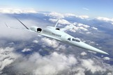 This rendering shows The Boeing Company's future supersonic advanced concept featuring two engines above the fuselage.