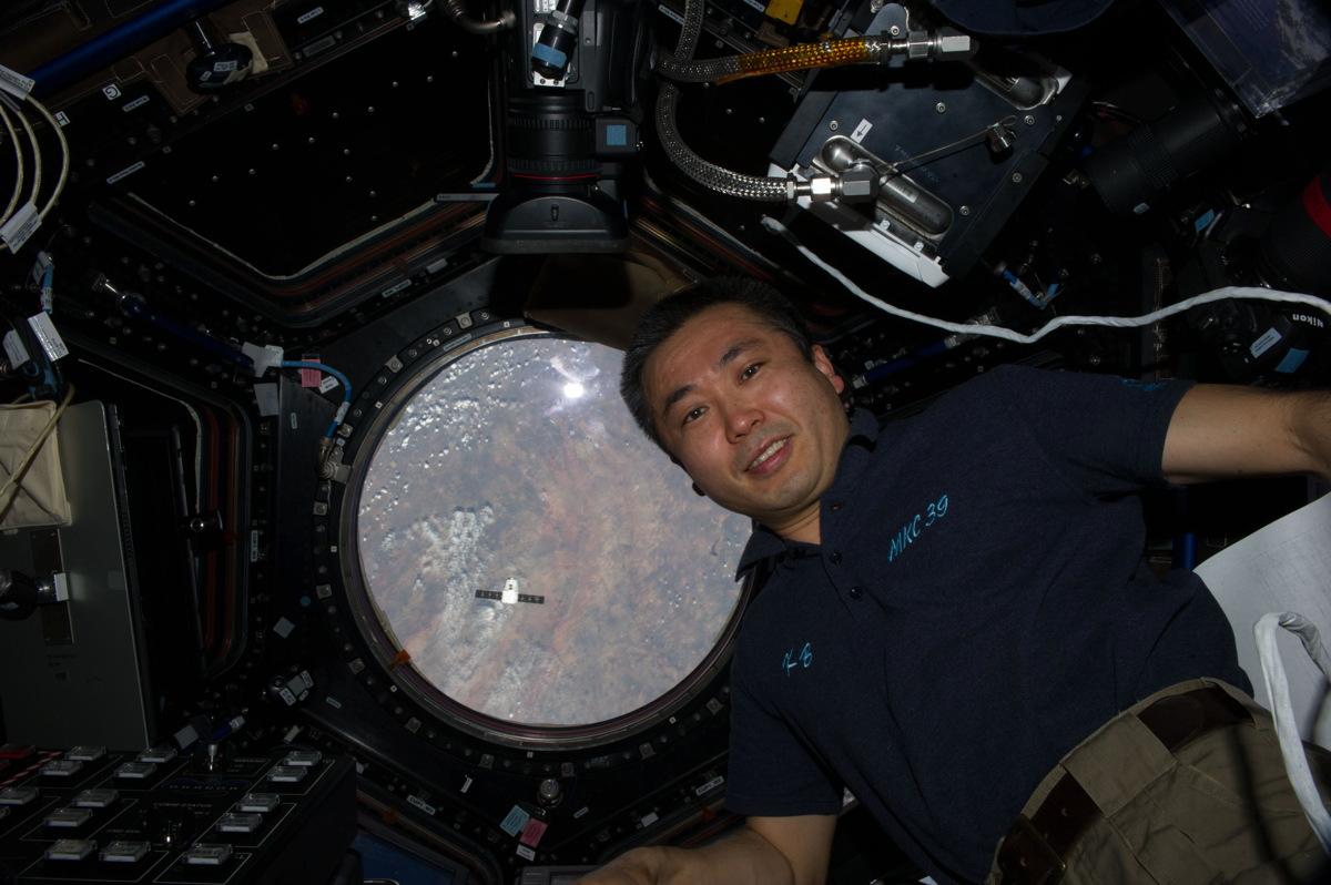 Astronaut Wakata and Dragon Cargo Ship