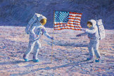 "Alan Bean's original painting, ""John F. Kennedy's Vision"" depicts Neil Armstrong and Buzz Aldrin planting the U.S. flag."