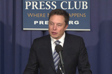 SpaceX founder and CEO Elon Musk discusses plans for reusable rocket technology during a press conference at the National Press Club in Washington, D.C. on April 25, 2014.