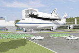 "Artist rendering of ""The Shuttle and 747 Carrier"" public attraction to open at Space Center Houston in 2015."