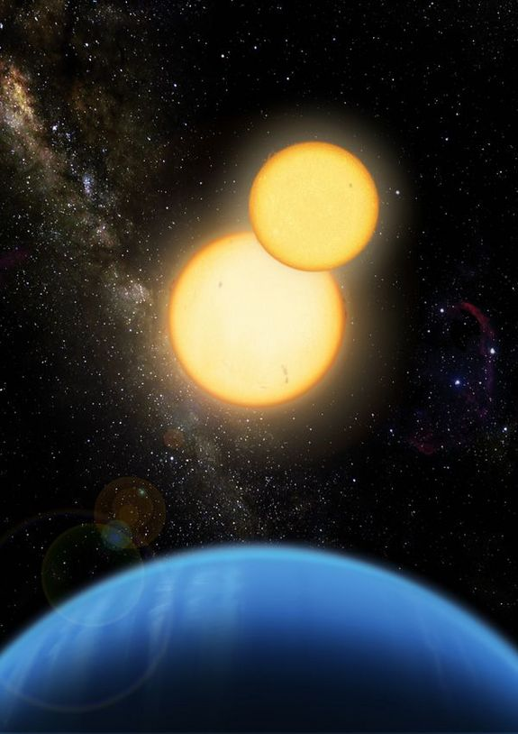 An artist's image of Kepler-35, where a Saturn-size planet orbits a pair of sun-like stars. Such systems could host an exomoon within the habitable zone of the stars.