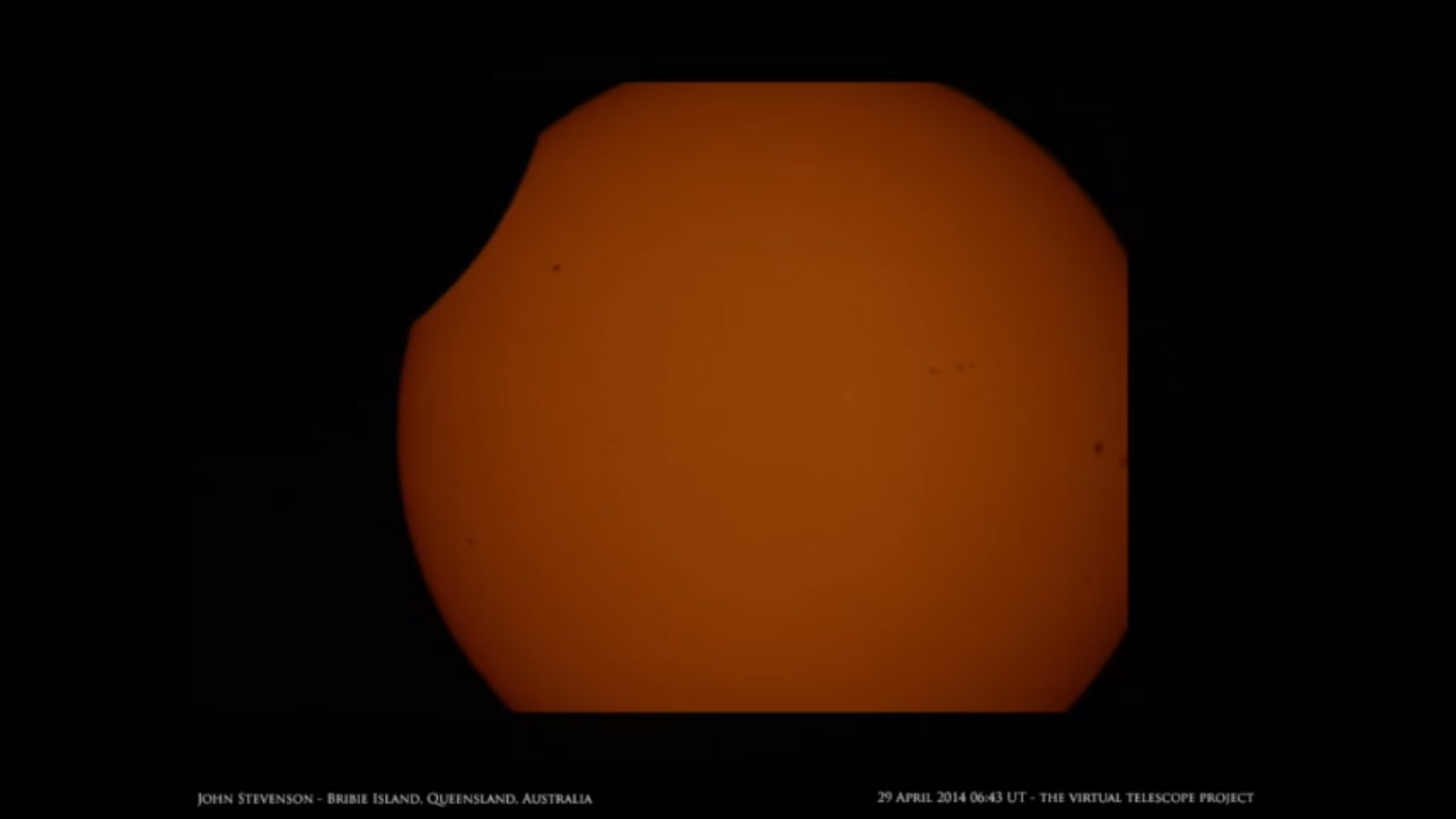Solar Eclipse and Sunspots: John Stevenson on April 29
