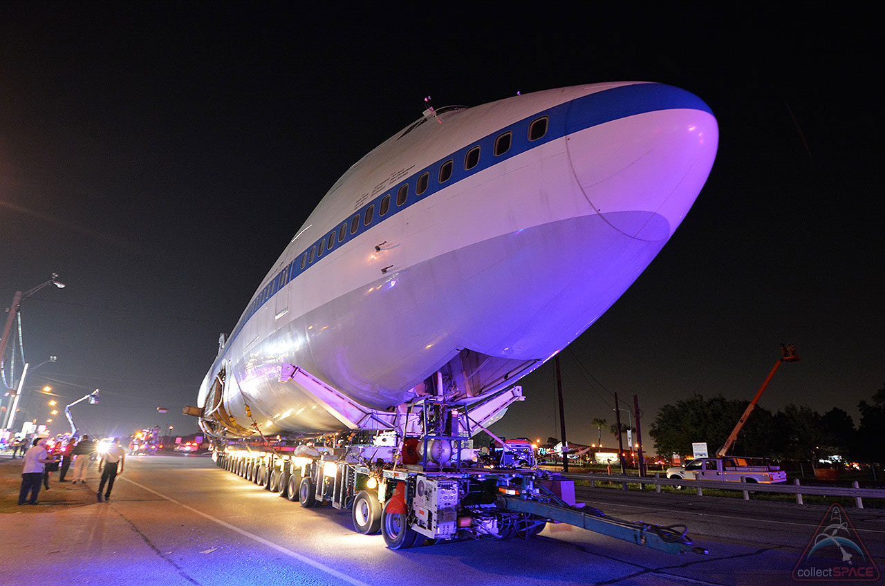 Night Flight: NASA Shuttle Carrier Jet Taking Road Trip to Space Center Houston
