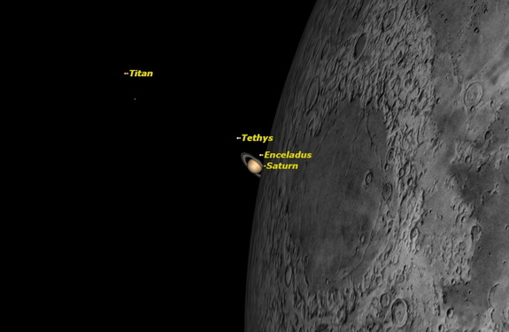 Wednesday, May 14, early morning. The Full Moon will pass just below the planet Saturn. Observers in southern Australia and New Zealand will see the moon occult Saturn. Saturn is just appearing from behind the moon as seen from Melbourne, Australia.
