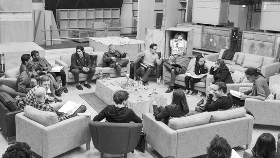 The Star Wars: Episode VII cast at a London table read.