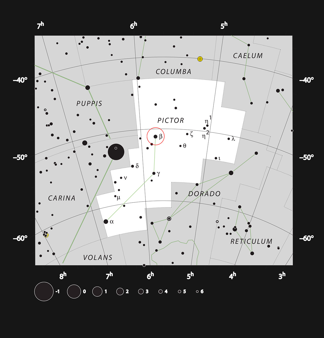 Map of the Sky Around Beta Pictoris