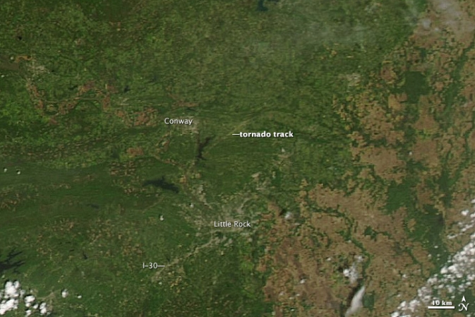 NASA Satellite Shows Tornado's Track in Arkansas
