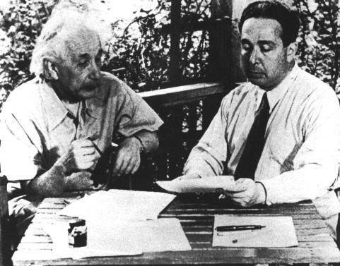 Albert Einstein signed a letter initially authored by physicist Leo Szilard that warned President Roosevelt of the German studies of the atomic bomb and ultimately led to the creation of the Manhattan Project.