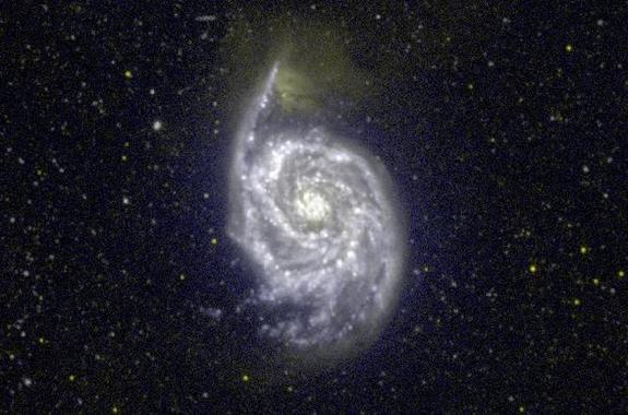 A GALEX ultraviolet image of the Whirlpool galaxy Messier 51. The appearance of galaxies in the ultraviolet differs from what we see in visible light.