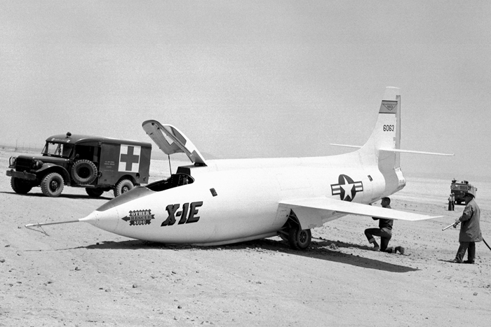 Space History Photo: X-1E On Rogers Dry Lake With Collapsed Nose Gear