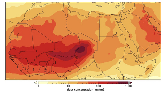 Estimated dust concentration averaged from October through December over the period 1985-2006 in micrograms of dust per cubic meter. Maximum values over the Bodélé Depression in Chad extend towards southern Niger.