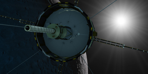 Artist's concept of the ISEE-3 probe's anticipated lunar flyby on Aug. 10, 2014.