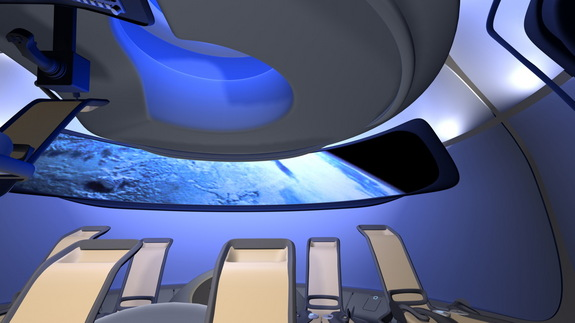 Boeing's new CST-100 commercial interior features the aerospace company's sky-blue interior lighting already featured in its modern airliners and uses a large digital display to substitute for passenger windows.