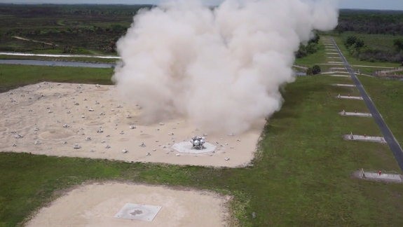 NASA's Morpheus lander prototype is seen just after landing on a mock lunar surface during in this still from a NASA video recording at the Kennedy Space Center in Florida during an April 30, 2014 test flight.