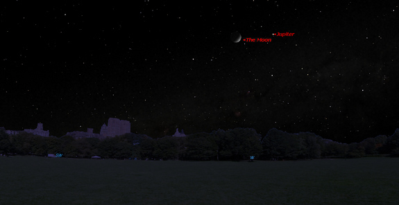 This sky map shows the location of Jupiter near the moon on Sunday, May 4, 2014, as seen in the western sky at 10 p.m. local time from mid-northern latitudes.