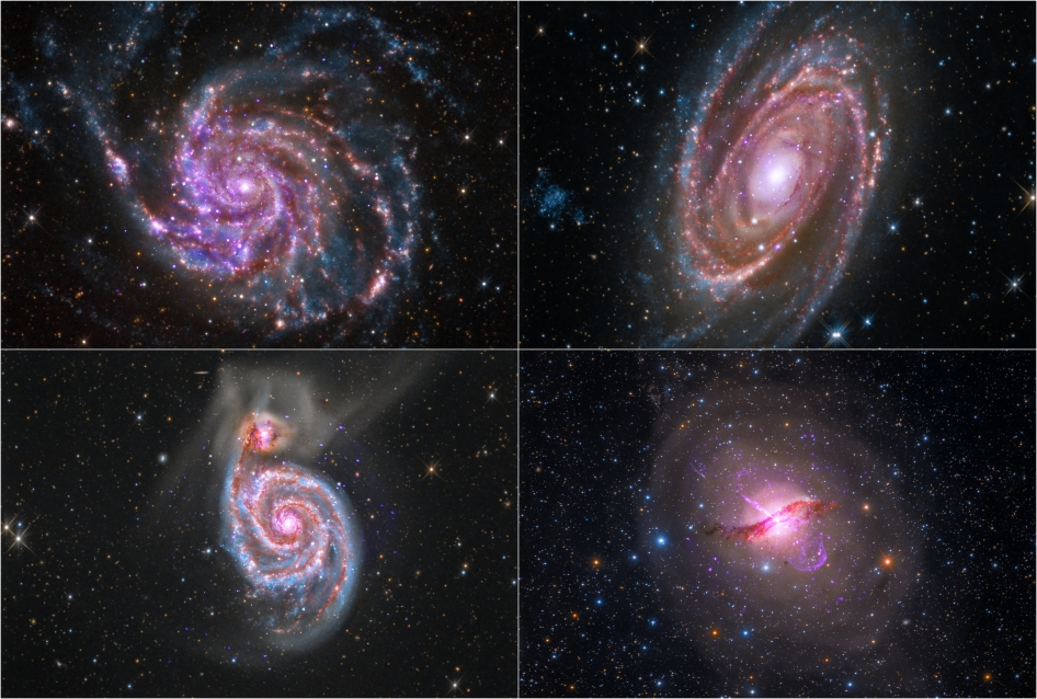 The pictures of Centaurus A (lower right), M101 (upper left), M81 (upper right) and M51 (lower left) were created with photos taken by amateur astrophotographers and NASA spacecraft. Image uploaded May 5, 2014.