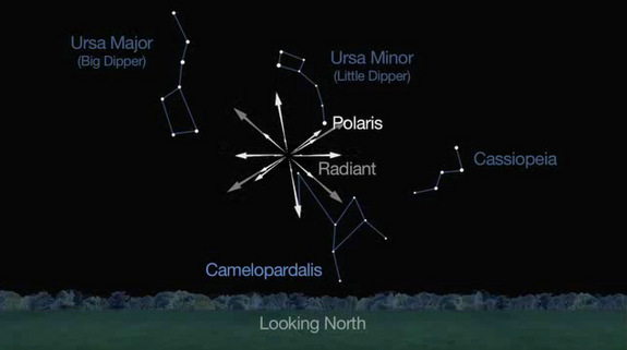 "This sky map from a NASA video shows the location of the new ""Camelopardid"" meteor shower spawned by the Comet 209P/LINEAR, which will make its first appearance in Earth's night sky overnight on May 23 and 24, 2014. The meteor shower will appear to radiate out from a point near the constellation Camelopardalis."
