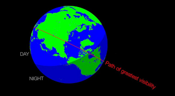 Comet 209P/LINEAR may create a new meteor shower on May 23-24, 2014, visible to observers in southern Canada and the continental United States. This NASA graphic depicts the visibility path of the meteor shower.