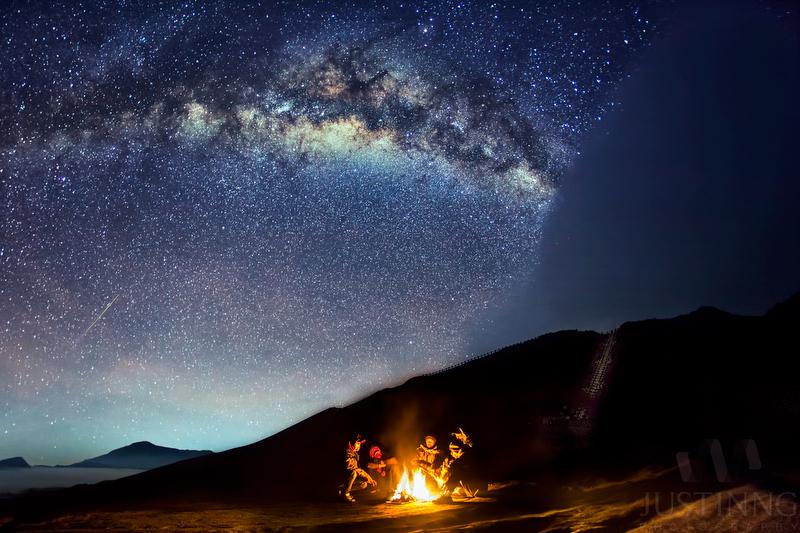 Meteor Over Mount Bromo, Indonesia