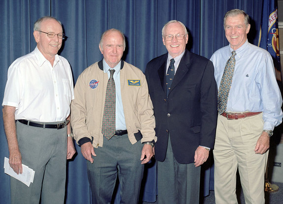 Bill Dana (second from left) receives his astronaut wings during a 2005 NASA ceremony at the Dryden (now Armstrong) Flight Research Center in California. Joining Dana were fellow X-15 pilots Robert White and Neil Armstrong, now both deceased, and Joe Engle.