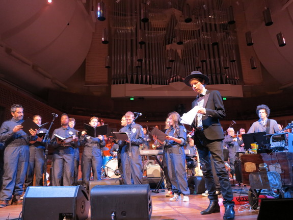 The International Space Orchestra and Beck during rehearsal at Davies Symphony Hall. Image taken by Nelly Ben Hayoun, SETI Institute.