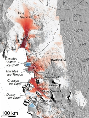 The glaciers studied by Rignot's research team. Red indicates areas where flow speeds have increased over the past 40 years. The darker the color, the greater the increase. The increases in flow speeds extend hundreds of miles inland.