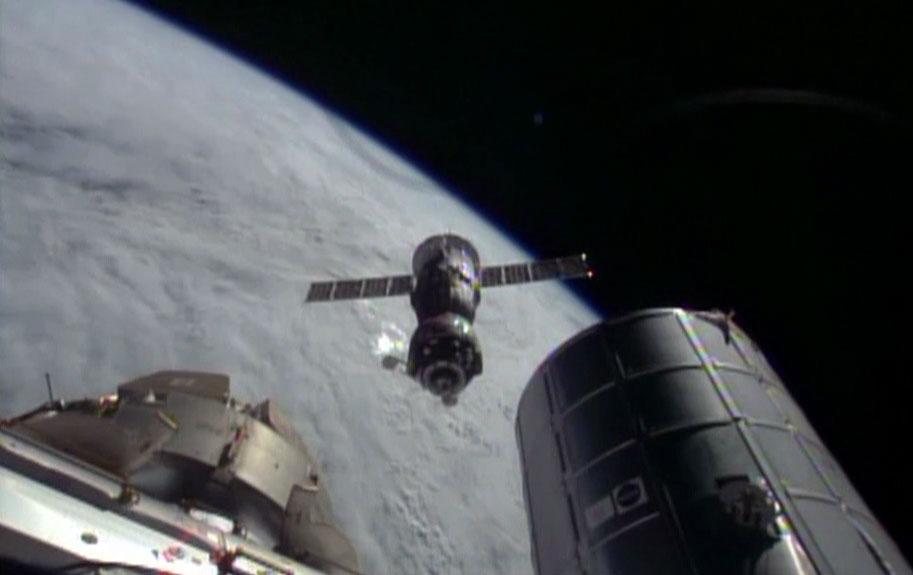 Soyuz Capsule Departs Space Station