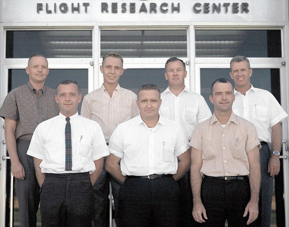 Neil Armstrong (at top left) was one of seven test pilots at NASA's Flight Research Center when this was taken in 1962.