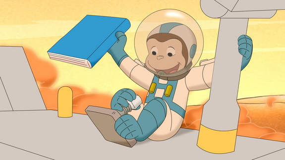 Curious George plays with a rover on Mars in a new episode airing May 19, 2014.