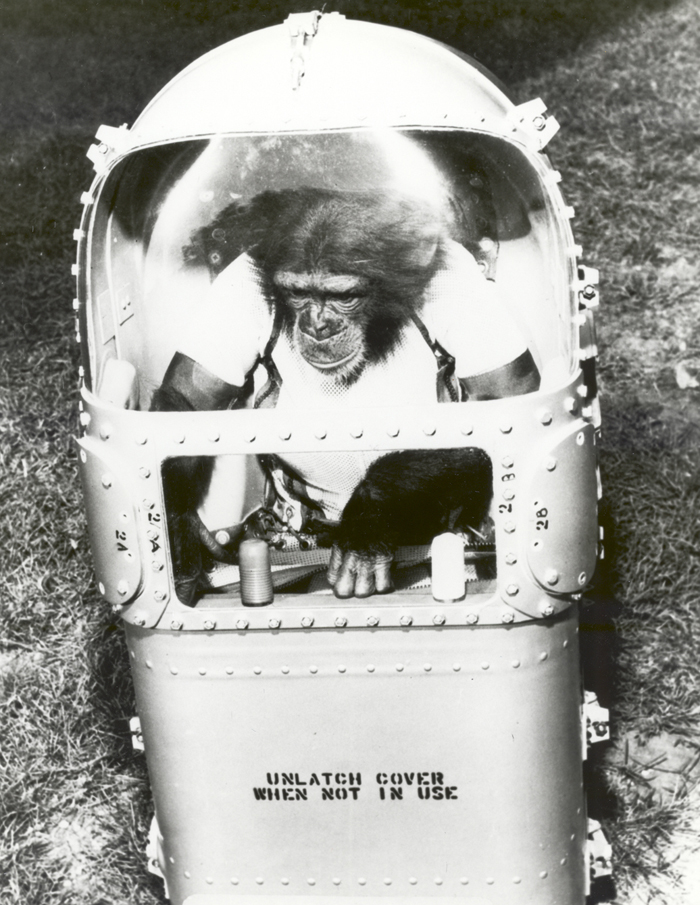 Space History Photo: Ham Tries Out His Life Support System