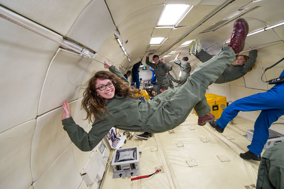 Space.com's Megan Gannon during the flight on April 11, 2014.