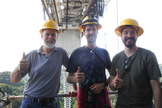 "The ISEE-3 ""away team"" at the Arecibo Telescope in Puerto Rico as they attempt to contact the spacecraft. From left, Dennis Wingo (project co-lead), Balint Seeber and Austin Epps."