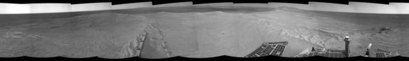 The component images for this 360-degree panorama were taken by the navigation camera on NASA's Mars Exploration Rover Opportunity after the rover drove about 97 feet (29.5 meters) during the mission's 3,642nd Martian day, or sol (April 22, 2014).