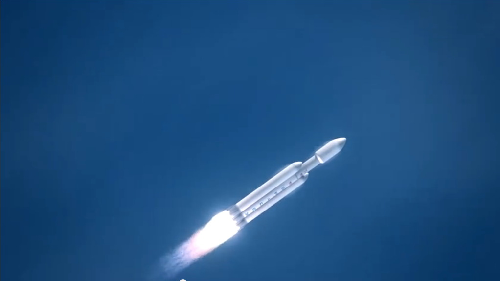 Falcon Heavy Rocket First Stage Burn