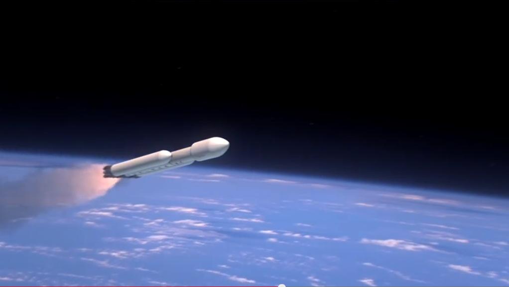 Falcon Heavy Rocket Heading to Space