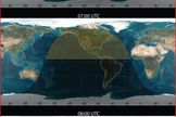 Map of projected peak viewing for 2014 May Camelopardalids meteor shower.