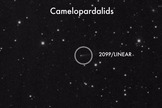 The May 23-24 Camelopardalid meteor shower is created by the Comet 209P/LINEAR, seen here in a NASA telescope image.
