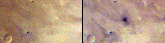 The left image was taken during Martian afternoon on March 27, 2012; the right one on the afternoon of March 28, 2012 by  the Mars Color Imager (MARCI) weather camera on NASA's Mars Reconnaissance Orbiter.