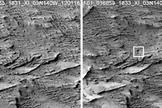 Before-and-after images taken with the Context Camera (CTX) on NASA's Mars Reconnaissance Orbiter show the impact site on Jan. 16, 2012, at left, and on April 6, 2014, at right.