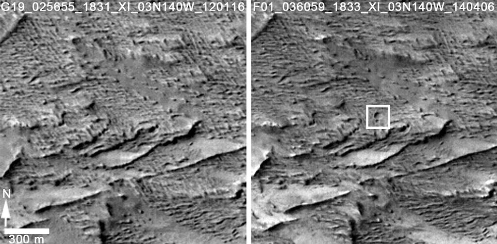 CTX Before and After Martian Crater