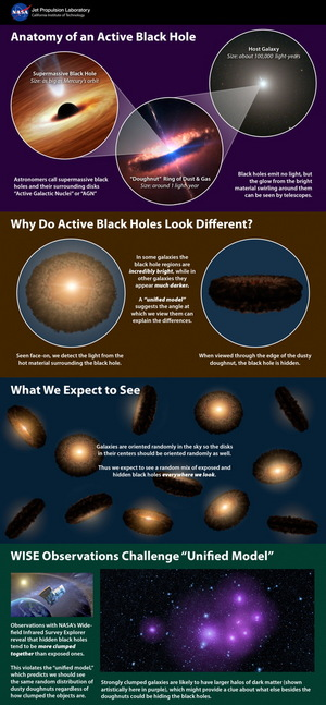 This infographic explains a popular theory of active supermassive black holes, referred to as the unified model -- and how new data from NASA's Wide-field Infrared Survey Explorer, or WISE, is at conflict with the model.
