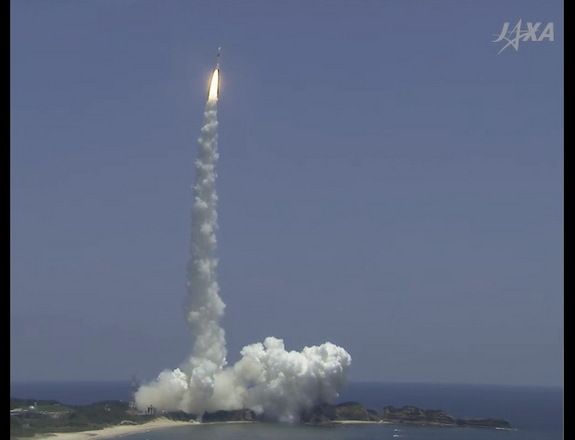 The H-2A rocket lifts off from the Tanegashima Space Center.