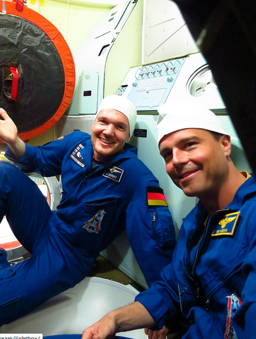 Astronauts Inside the TMA-13M Soyuz
