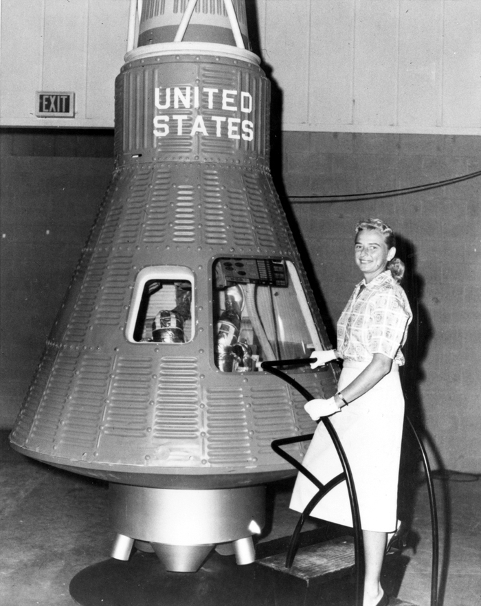Space History Photo: Jerrie Cobb Poses beside Mercury Capsule