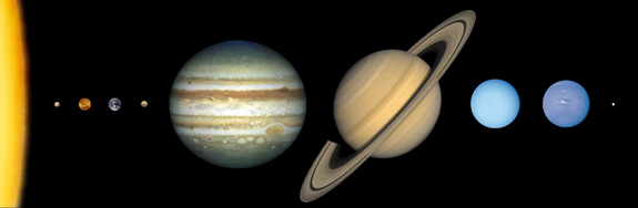 The solar system to scale. The diameter of Jupiter (middle, with red spot) is about 11 times that of Earth (third planet from the left).