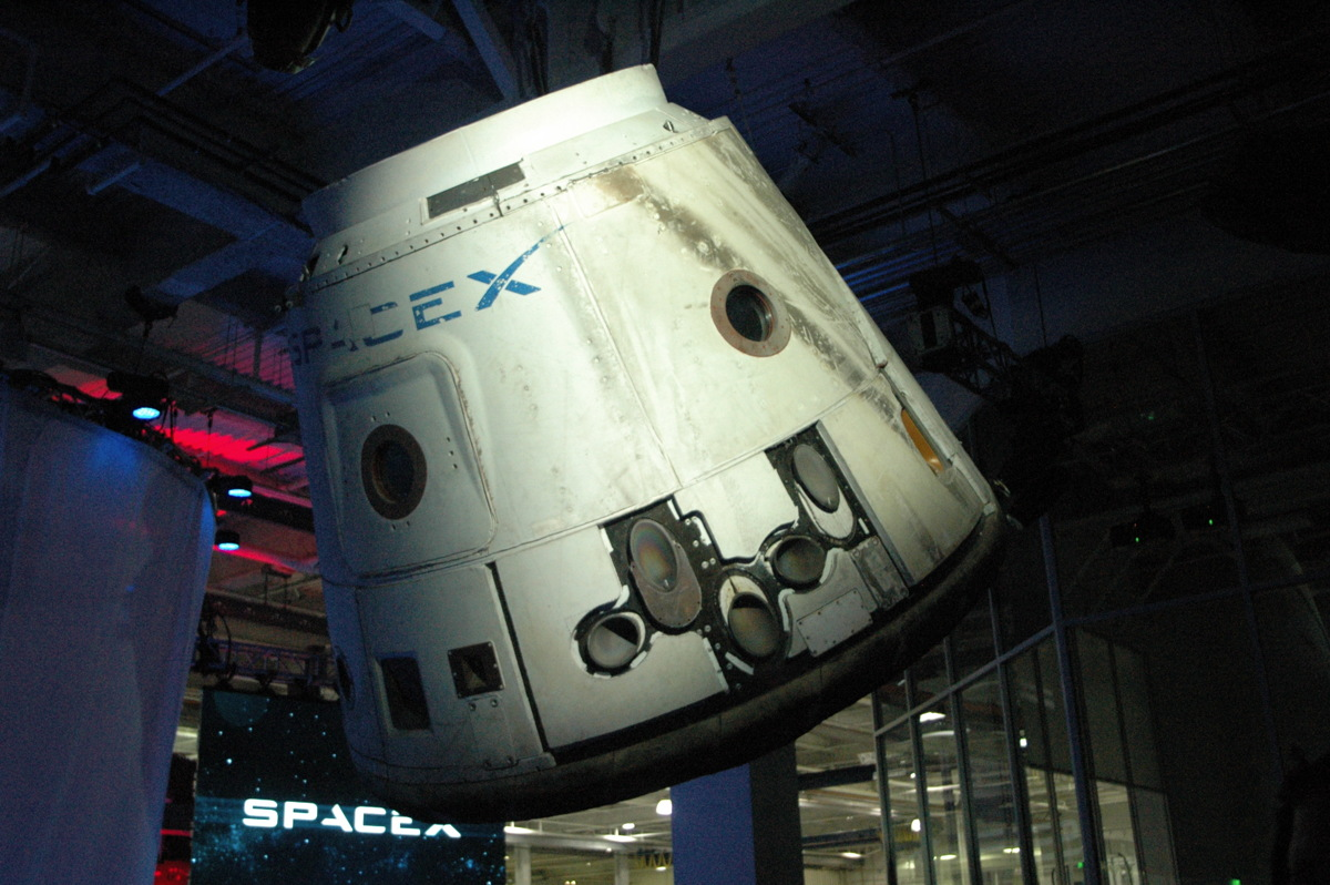 Dragon Cargo Capsule on Display at SpaceX