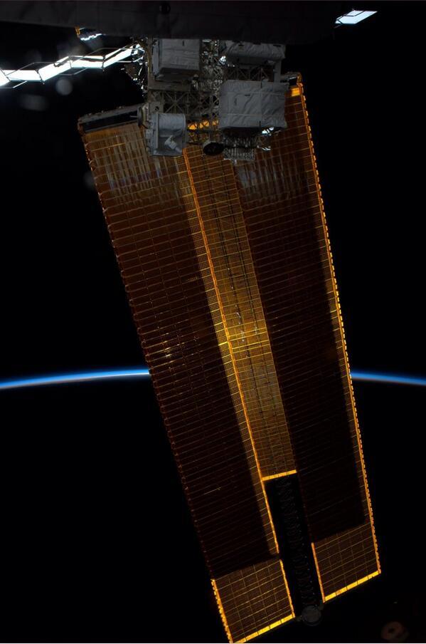 Solar Arrays from ISS Astronaut Reid WIseman