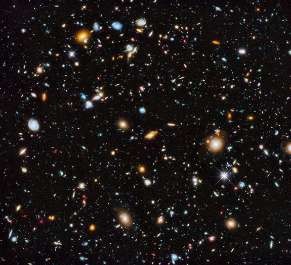 This image by the Hubble Space Telescope is the most comprehensive view yet of the universe's evolution as seen by a space telescope. The coloful image, released June 3, 2014, contains 10,000 galaxies, with the different colors denoting different wavelengths.