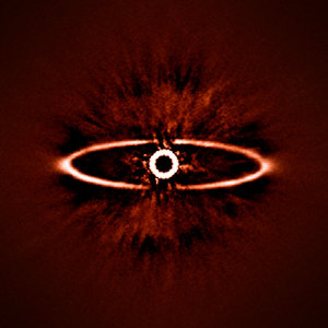 This infrared image shows the dust ring around the nearby star HR 4796A in the southern constellation of Centaurus.